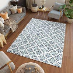 JUNGLE Teppich Sisal Outdoor Flachgewebe Floral Mosaik Creme Blau