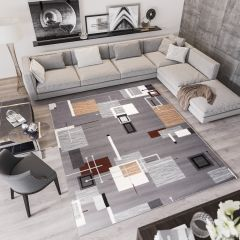 LAILA Modern Area Rug Abstract Squares Grey Beige Durable Carpet