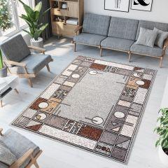 Laila Teppich Modern Kurzflor Grau Braun Creme Figuren