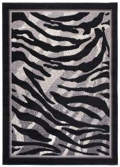 DREAM Teppich Modern Kurzflor Grau Creme Schwarz Zebra Design