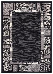 DREAM Teppich Modern Kurzflor Grau Creme Afrika Tiermotiv