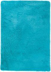 Silk Teppich Shaggy Hochflor Modern Einfarbig Blau Türkis