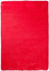 TAPISO Silk Teppich Shaggy Hochflor Modern Einfarbig Rot