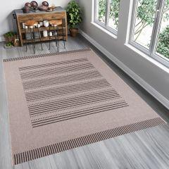 FLOORLUX Sisal Lines Area Rug Modern Natural Beige Durable Carpet