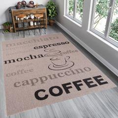 FLOORLUX Tapis Moderne Motif Café Beige Marron Résistant Sisal