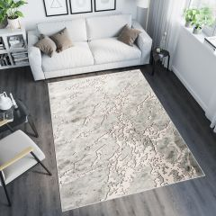 TANGO Teppich Modern Kurzflor Grau Hellgrau Creme Abstrakt Design