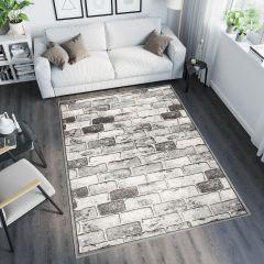 TANGO Teppich Modern Kurzflor Grau Hellgrau Geometrisch Ziegeln