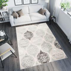 TANGO Teppich Modern Kurzflor Grau Hellgrau Creme Abstrakt Ornament