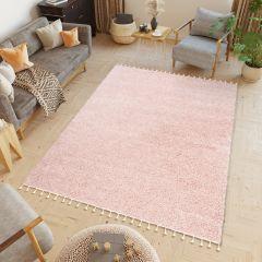BOHO Teppich Modern Fransen Shaggy Langflor Pink Wohnzimmer ÖKOTEX