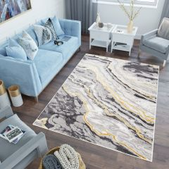 SHINE Teppich Kurzflor Modern Dunkelgrau Hellgrau  Marmor Design