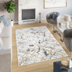 SHINE Teppich Modern Geometrisch Hellgrau Golden Linien Design