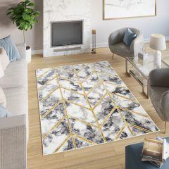 SHINE Teppich Kurzflor Modern Geometrisch Linien Grau Golden Marmor