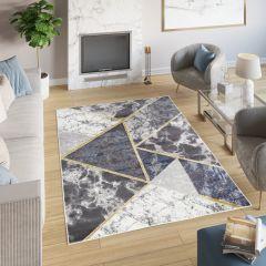 SHINE Tapis Moderne Géométrique Triangle Crème Or Gris Bleu Doux