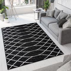 Bali Teppich Kurzflor Modern Schwarz Weiß Wellen