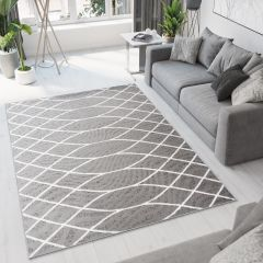 Bali Teppich Kurzflor Modern Grau Weiß Wellen Meliert