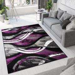 BALI Modern Area Rug Short Pile Black Grey Purple Waves