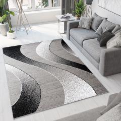 Bali Teppich Kurzflor Modern Grau Weiß Schwarz Wellen