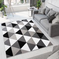 Bali Teppich Kurzflor Modern Grau Schwarz Weiß Dreiecke