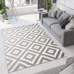 BALI Modern Area Rug Short Pile Geometric Diamond Grey White