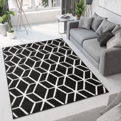 Bali Teppich Kurzflor Modern Geometrisch Gitter Design Schwarz Weiß