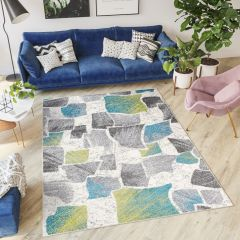 JAWA Teppich Kurzflor Modern Weiß Grau Grün Blau Design Karo