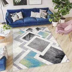 JAWA Teppich Kurzflor Modern Geometrisch Beige Grün Blau Grau