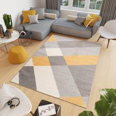 COSMO Teppich Kurzflor Modern Gelb Grau Geometrisch Figuren Design