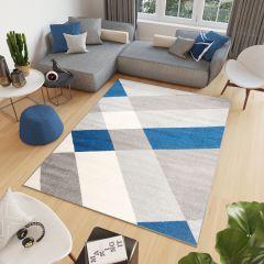 COSMO Teppich Kurzflor Modern Blau Grau Creme Geometrisch Figuren