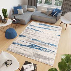 COSMO Teppich Kurzflor Modern Blau Grau Creme Verwischt Design
