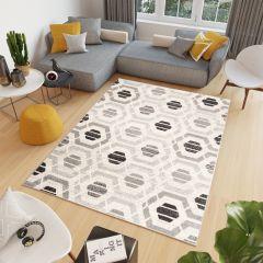 COSMO Teppich Kurzflor Modern Schwarz Grau Creme Modern Figuren