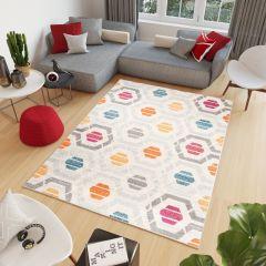 COSMO Teppich Kurzflor Modern Rosa Blau Orange Figuren Geometrisch