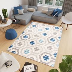 COSMO Modern Area Rug Short Pile Geometric Grey Blue Carpet