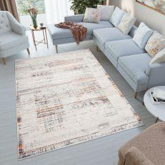 VENEZIA Teppich Modern Kurzflor Grau Creme Orange Blau Wohnzimmer