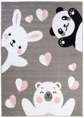 Pinky Teppich Kurzflor Grau Weiß Bär Hase Tiere Kinderteppich
