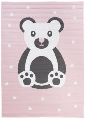 Pinky Teppich Kurzflor Rosa Weiß Grau Bär Herzen Kinderteppich
