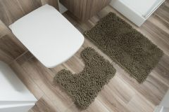 CHENILLE Non-Slip Bathroom Bath Shower Washable Mat 2PCS Green 50 x 80 cm (1ft8