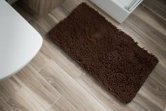 CHENILLE Non-Slip Bathroom Bath Washable Mat 1PC Coffee Brown 60 x 100 cm (2ft x 3ft3