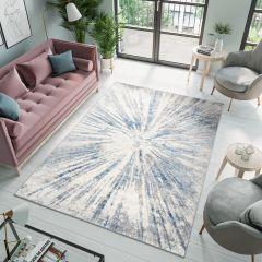 VALLEY Teppich Kurzflor Modern Abstrakt Grau Blau Verwischt
