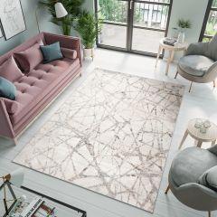 VALLEY Teppich Kurzflor Modern Abstrakt Linien Design Grau