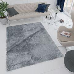 Elysee Shaggy High Pile Area Rug One Colour Plain Dark Grey