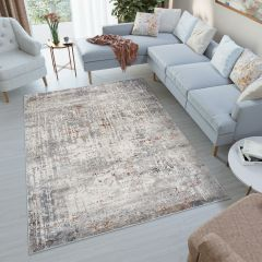 FEYRUZ 3D Area Rug Modern Vintage Blurred Lines Grey Durable