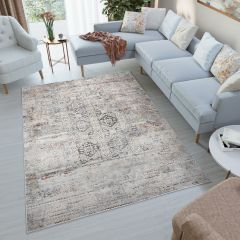 FEYRUZ 3D Area Rug Contemporary Vintage Designer Grey Durable