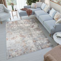 FEYRUZ 3D Area Rug Vintage Contemporary Abstract White Grey