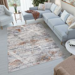 FEYRUZ 3D Area Rug Modern Vintage Abstract Grey Ginger