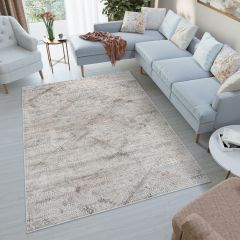 FEYRUZ Vintage Area Rug Contemporary 3D Abstract Cream Grey