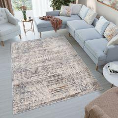 FEYRUZ Teppich Creme Grau Orange Blau Streifen Vintage