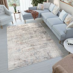 FEYRUZ 3D Modern Vintage Area Rug Abstract Designer Lines Grey
