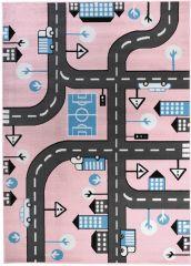 Pinky Teppich Kurzflor Kinderteppich Pink Blau Schwarz Modern Straße