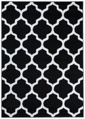LUXURY Area Rug Modern Short Pile Trellis Moroccan Black White