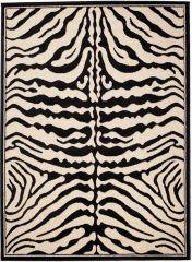 ATLAS Teppich Kurzflor Afrika Tiermuster Zebra Schwarz Creme